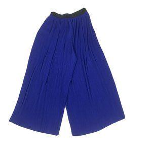 Zara Blue pleated palazzo culotte trouser pants